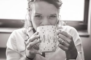 I've got my coffee and my Wifey cup - definitely relaxed and happy on my wedding day.