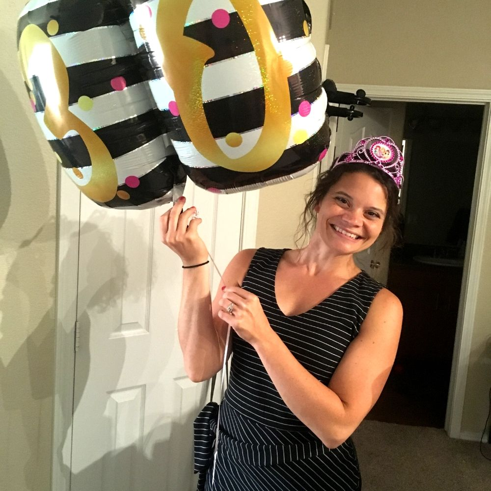 Michelle Chalkey with a 30th birthday balloon